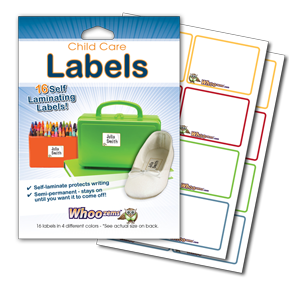 Easy to use, Whoozems Self Laminating Baby Bottle and Child Care Label Directions.